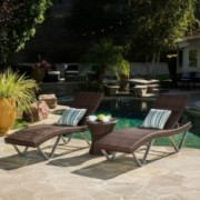 Worrin Multibrown 3pc Chaise Lounge Chair and Table