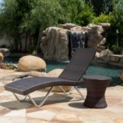 Humael Outdoor Multi Brown Wicker Chaise Lounge with Table