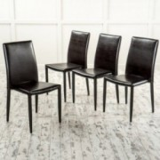 Pasiara Contemporary Brown Stacking Chairs (Set of 4)