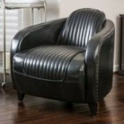 Lemay Channeled Black Leather Club Chair