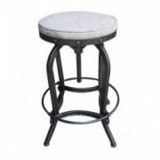 Magnusson Swivel Iron French Script Fabric Bar stool