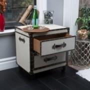Crescent Grey Upholstered 2-Drawer End Table