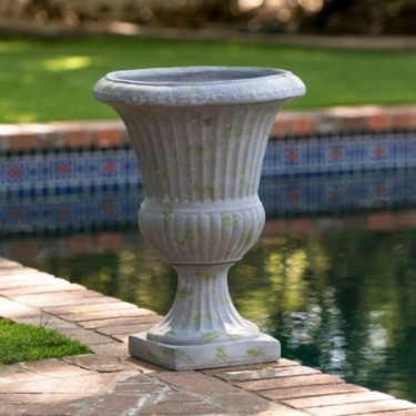 Rossini 22.5-inch Grey with Green Moss Urn Planter