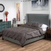 Taethon Fully Upholstered Dark Grey Bonded Leather Cal King Bed Set