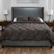 Hampton Upholstered Bonded Leather Full Size Bed in Dark Grey