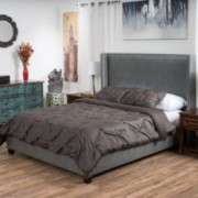 Souchet Fully Upholstered Dark Grey Bonded Leather Queen Bed Set