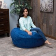Harbor 3 Foot Faux Suede Midnight Blue Bean Bag