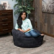 Harbor 3 Foot Faux Suede Black Bean Bag