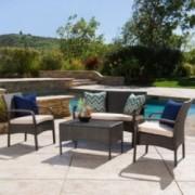 Denise Austin Home Kilburn Outdoor 4-Piece Multi Brown Wicker Chat Set