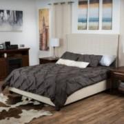 Arnfast Fully Upholstered Beige Linen Fabric Cal King Bed Set
