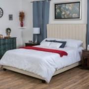 Naslund Fully Upholstered Bone Fabric Full Bed Set