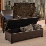 Sherman Brown Leather Storage Ottoman