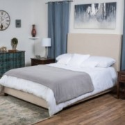 Odert Fully Upholstered Natural Fabric Cal King Bed Set