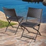 Jason Outdoor Brown Wicker Folding Chair (Set of 2)