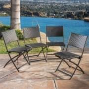 Jason Outdoor Brown Wicker Folding Chair (Set of 4)