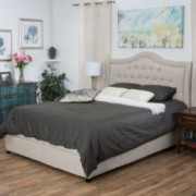 Harva Fully Upholstered Light Beige Fabric Queen Size Bed With Drawers