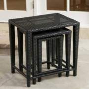 Mayall Black Wicker Nested Side Tables (Set of 3)