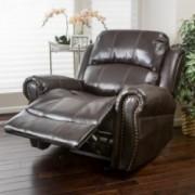 Harbor Dark Brown Leather Glider Recliner Club Chair