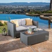 Asgard Multi-Grey PE 2pc Outdoor Sofa and Coffee Table Set