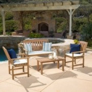 Shirley Outdoor 4-piece Wood Chat Set with Cushions