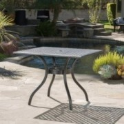 Auberge Oudoor Patio Black Cast Aluminum Square Table