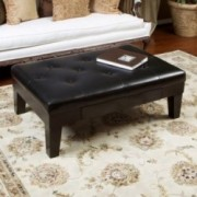 Edgar Leather Ottoman Coffee Table w/ Drawer