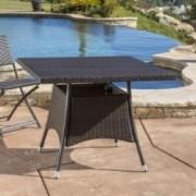 Kanasca Outdoor Multi Brown Polyethylene Square Dining Table
