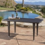Medens Contemporary Outdoor Multi Brown Polyethylene Rectangle Table