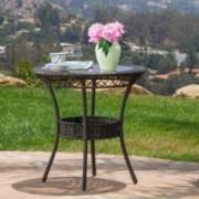 "Paea Multi Brown PE 27"" Glass Table"