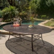 Frisco Shiny Copper Finished Aluminum Oval Dining Table
