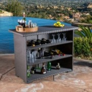Germar Contemporary Outdoor Dark Brown Polyethylene Bar