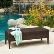 Hobbes Outdoor Multibrown Wicker Bench