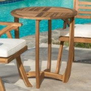 Navarro Outdoor Round Wood Side Table