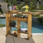 Vince Outdoor Teak Brown Wood Wine Cart