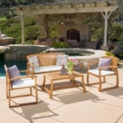 Enza Outdoor 4-piece Acacia Wood Chat Set with Cushions
