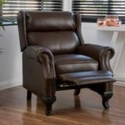 Curtis Dark Brown Leather Recliner Club Chair