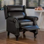Curtis Black Leather Recliner Club Chair