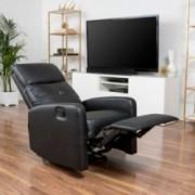 Teyana Black Leather Recliner Club Chair