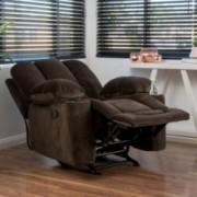 Raymond Brown Fabric Glider Recliner Club Chair