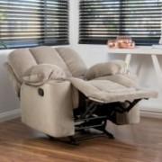 Raymond Latte Beige Fabric Glider Recliner Club Chair