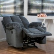 Raymond Steel Grey Fabric Glider Recliner Club Chair