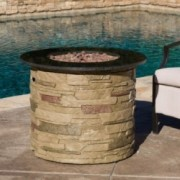 Rogers Outdoor Round Liquid Propane Fire Pit with Lava Rocks