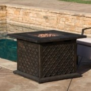 "Saratoga Outdoor 33"" Square Liquid Propane Fire Pit with Lava Rocks"