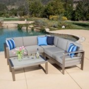 Denise Austin Home Sonora Outdoor Aluminum 4-piece Sofa Set with Cushions
