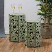 Utica Antique Style Green Accent Side Table (Set of 2)