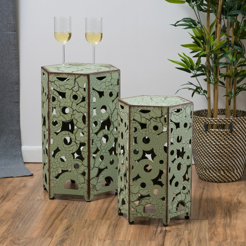 Utica Antique Style Green Accent Side Table Set Of 2