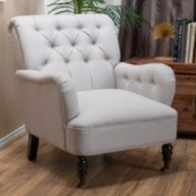 Wardell Natural Beige Tufted Fabric Club Chair