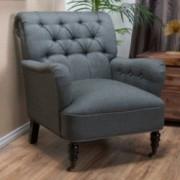 Wardell Grey Tufted Fabric Club Chair