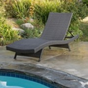 Olivia Outdoor Grey Wicker Chaise Lounge Chair