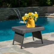 Akehurst Outdoor Gray Wicker Adjustable Folding Side Table